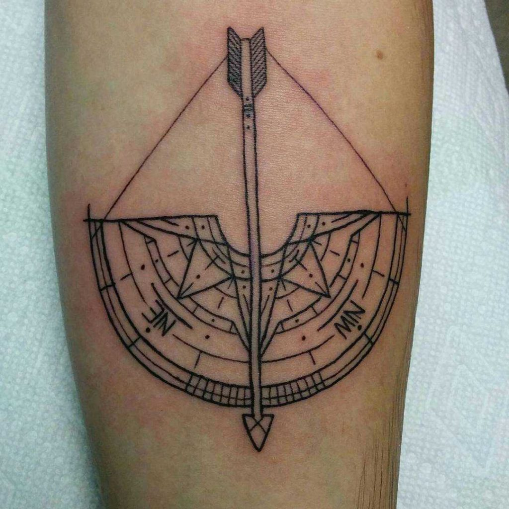 Compass and bow tattoo by Liv Larouche