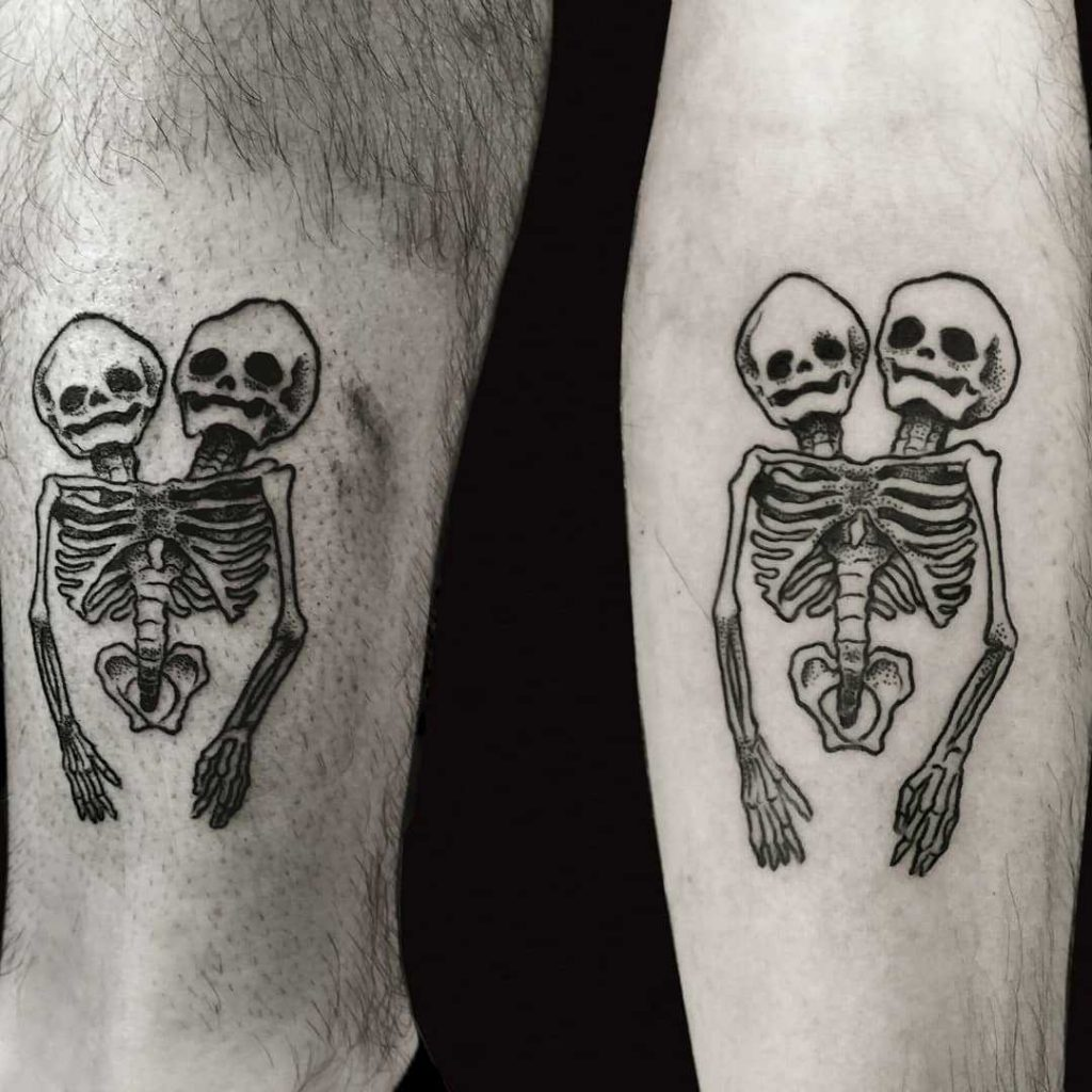Conjoined twins skeleton tattoo