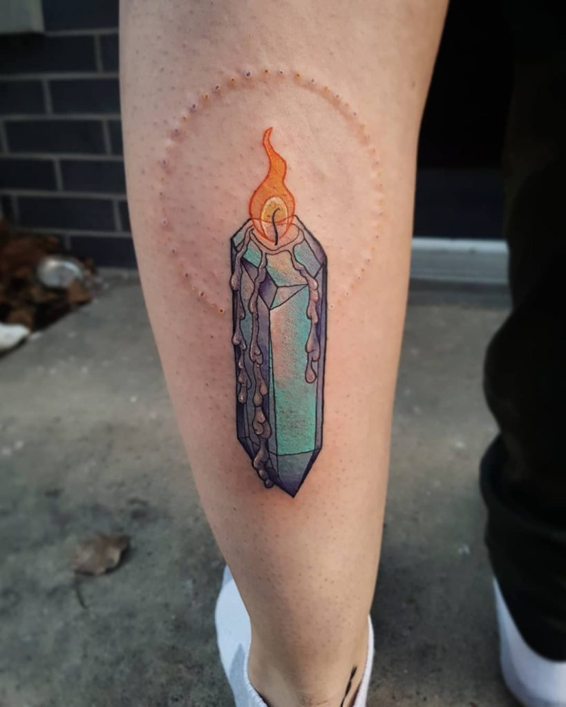 Crystal candle tattoo by Julia Bonomo