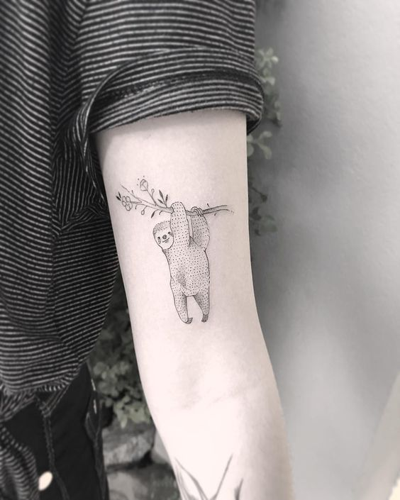 Cute minimalist style sloth tattoo