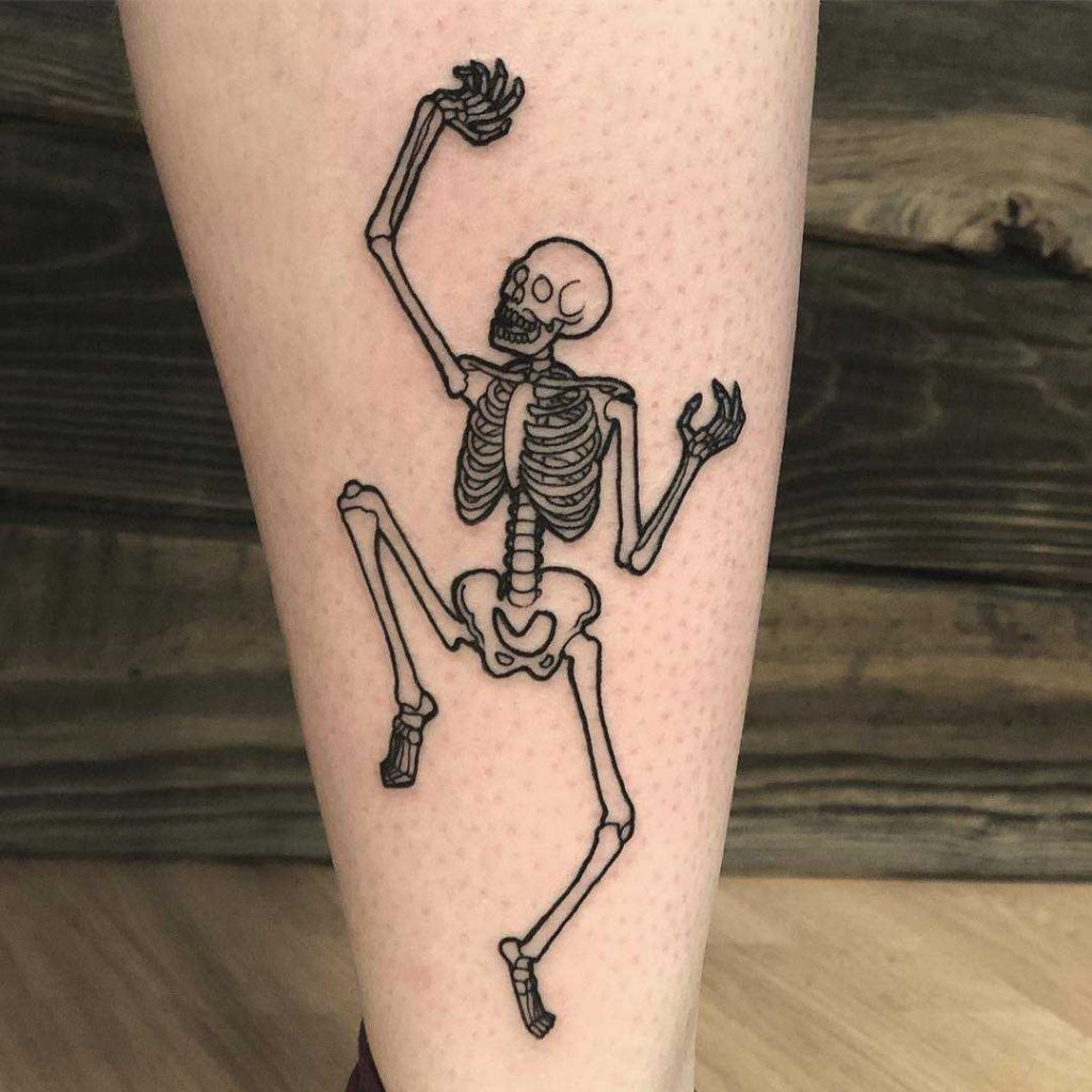 Dancing skeleton tattoo by Chase Martines