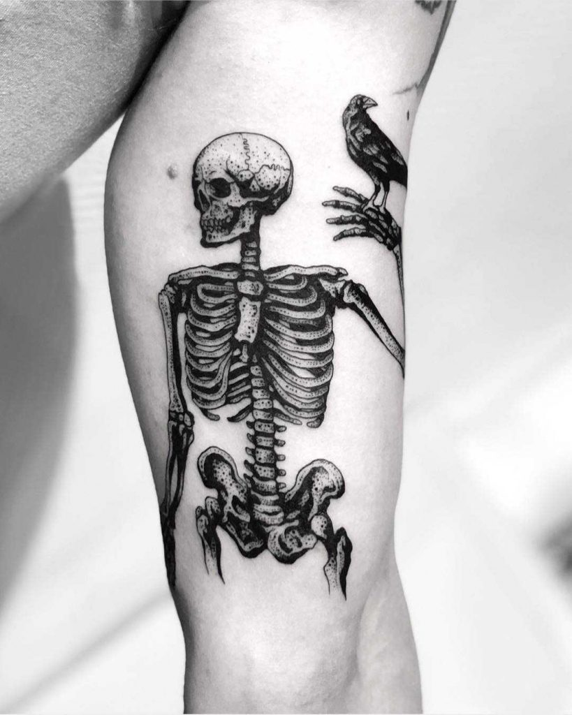 Dot-work skeleton with a crow