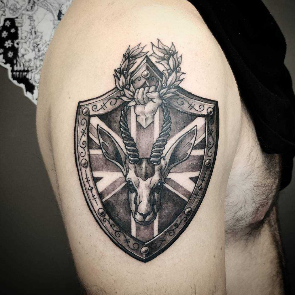 Family crest shield tattoo by alex rodway