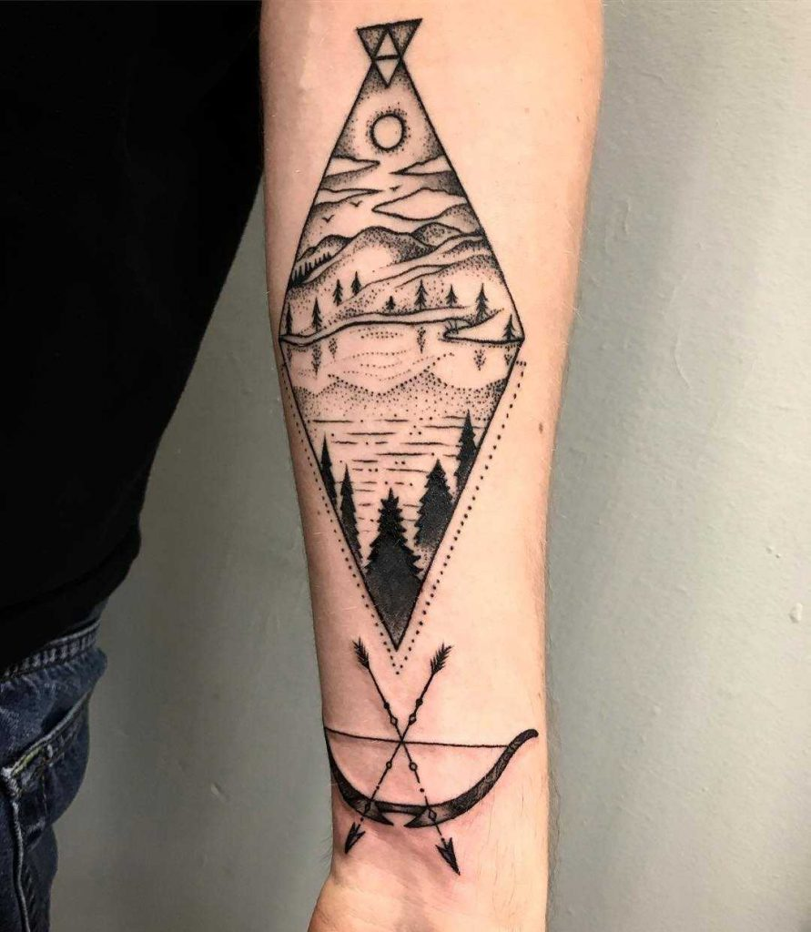 Landscape tattoo with a bow and arrow by Alexis Herzog