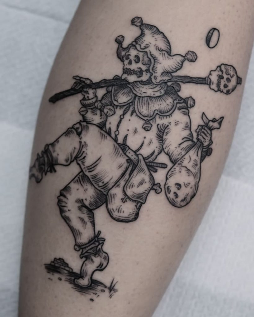Medieval skeleton joker tattoo