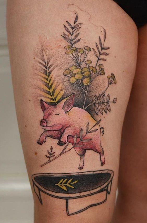 Pig on a trampoline by joanna swirska