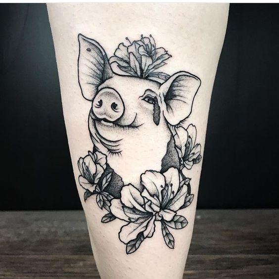 Pig vegan tattoo