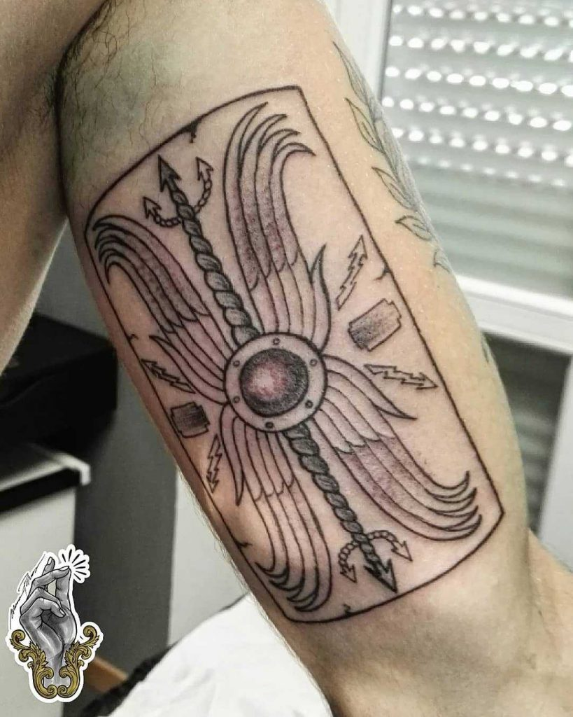 Roman shield tattoo