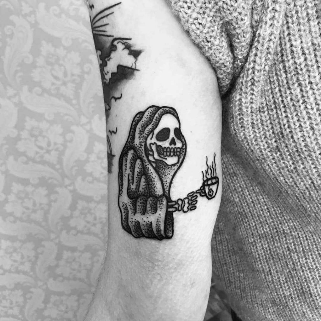 Skeleton with a cup of coffee by Nemesis Tattoo