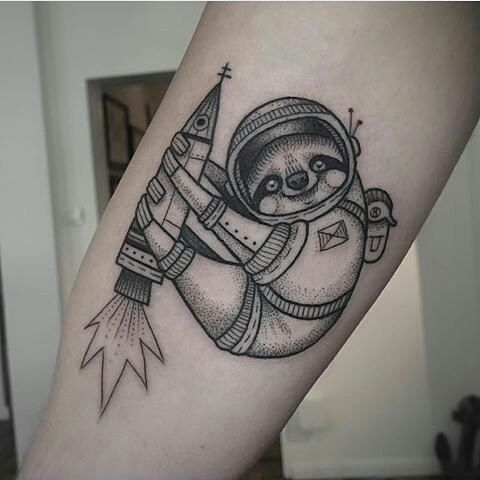 Sloth astronaut tattoo by susanne konig