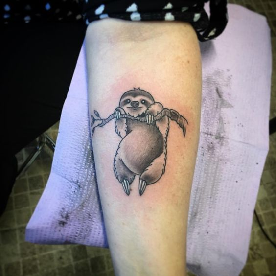 Sloth hanging on a tree tattoo