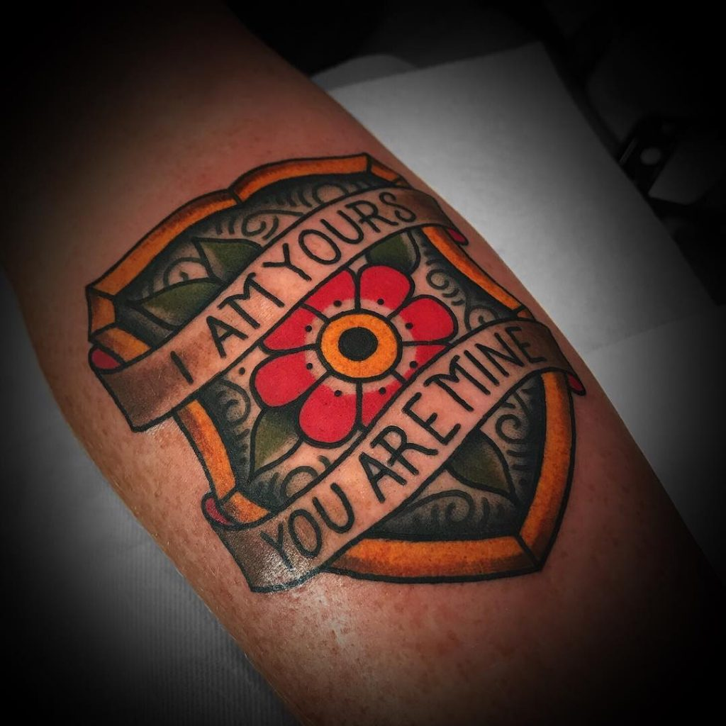 Traditional style shield tattoo by luke holland
