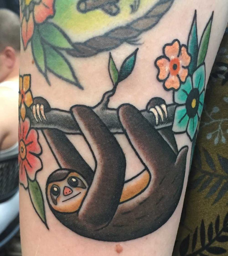 Traditional style sloth by liz marie