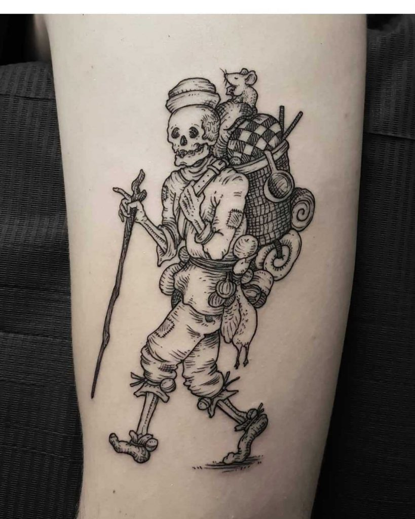 Traveling skeleton tattoo