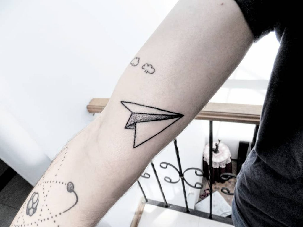 Dotwork paper airplane