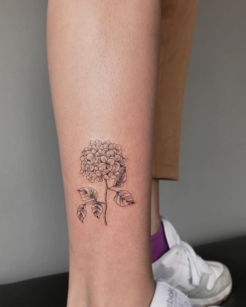 Grey hortensia tattooed on the right calf