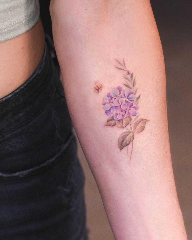 Hydrangea and rosemary
