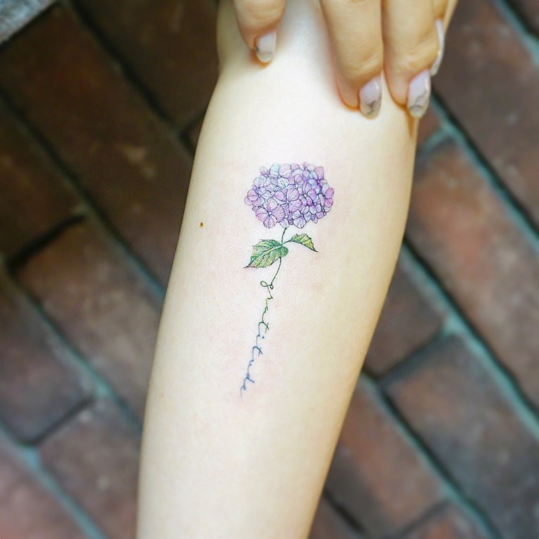 Hydrangea and script tattoo