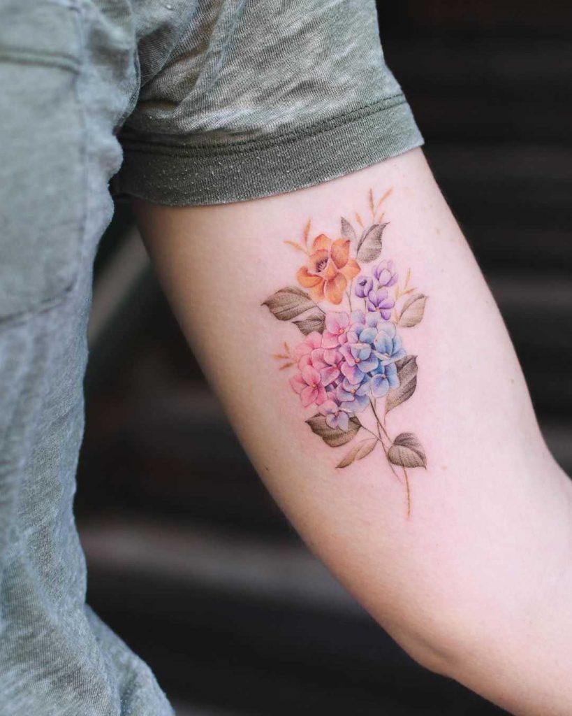 Hydrangea, daffodil & wild flowers