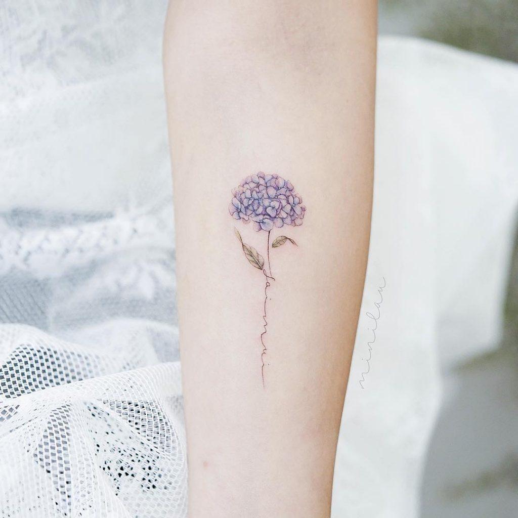 Minimalist hydrangea tattoo
