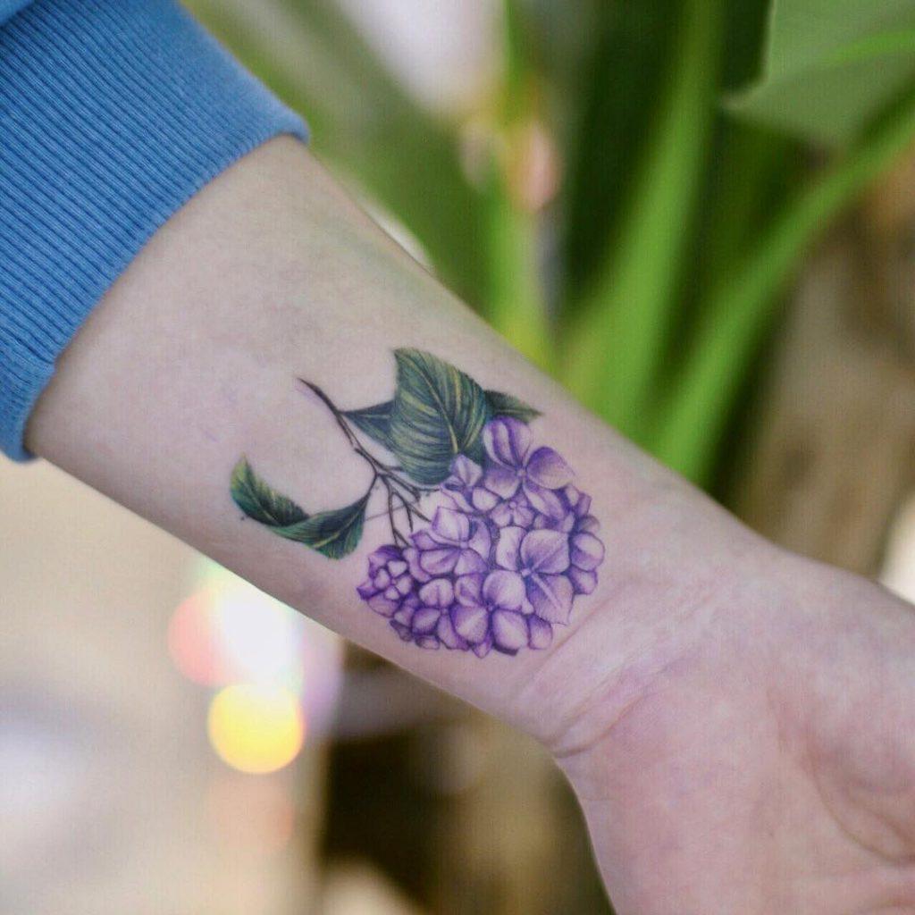 Purple hydrangea cover up tattoo