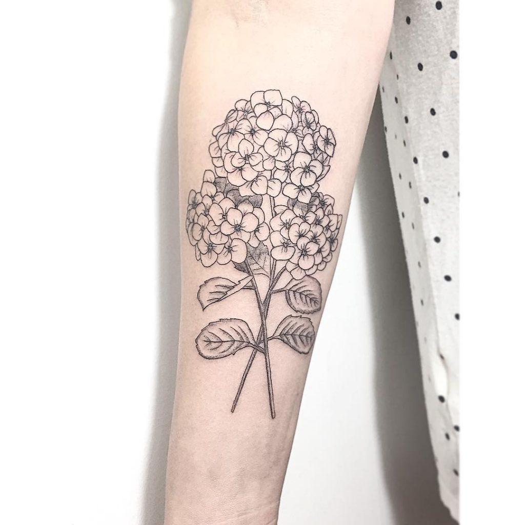 White and black hydrangea tattoo